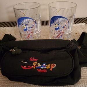 2 25th Anniv Disney World glasses & fanny pack!